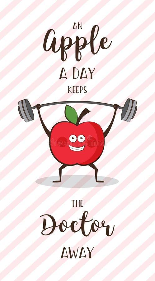 Plakat des schweren Anhebens der glücklichen Apfelübungs-Anzeige Gesundes Lebensstilmotivationsplakat stock abbildung