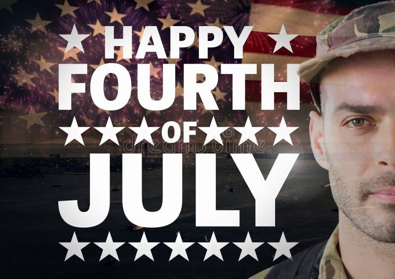 Plakat des Soldaten vor Hintergrund der amerikanischen Flagge während des Nationaltags lizenzfreie stockfotos