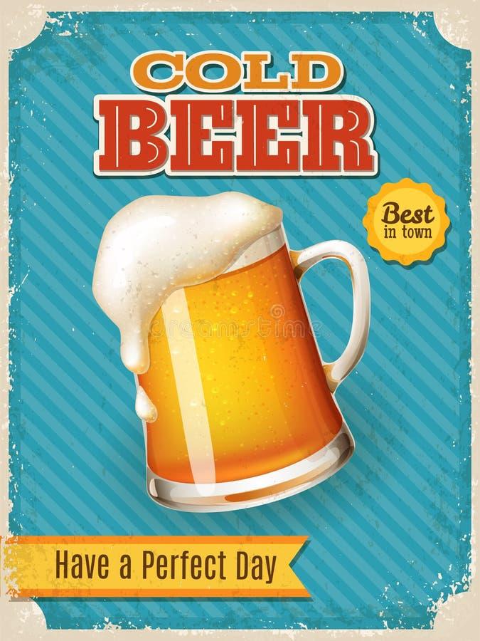 Plakat des Vektor-kalten Bieres mit hoher ausführlicher Bierkrugillustration vektor abbildung