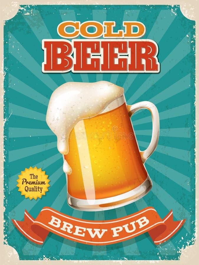 Plakat des Vektor-kalten Bieres mit hoher ausf?hrlicher Bierkrugillustration lizenzfreie abbildung