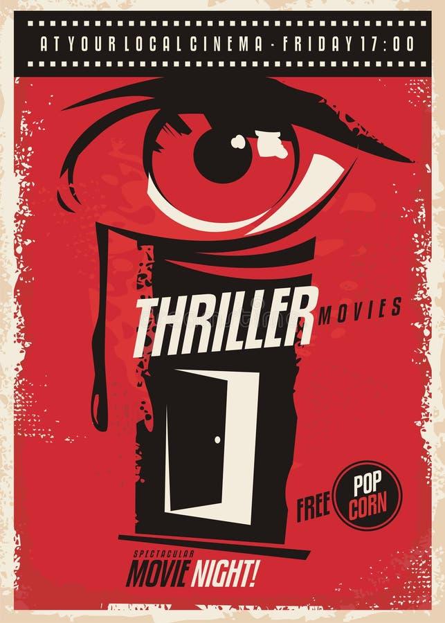 Plakat-Designidee des Thrillerfilmmarathons Retro- lizenzfreie abbildung