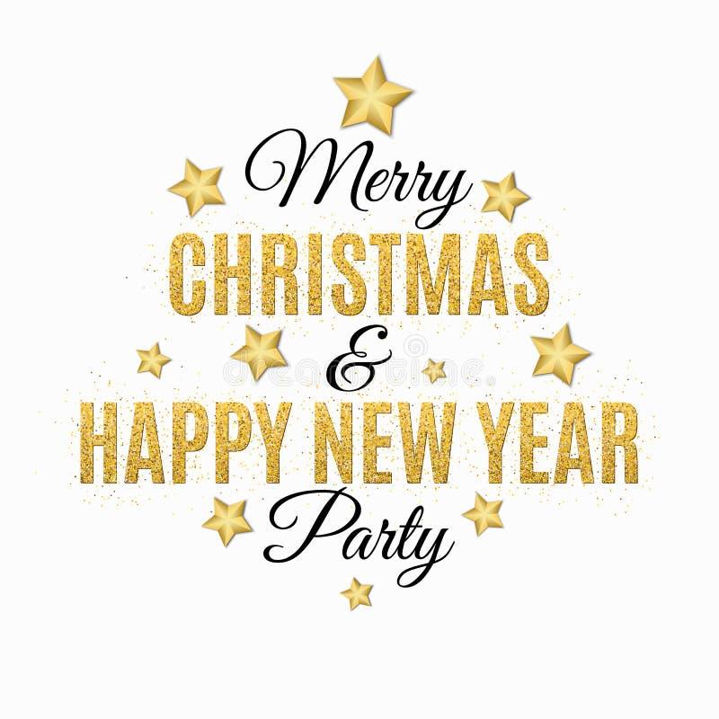 Plakat dla bożych narodzeń i nowego roku przyjęcia 1 zaproszenie karty Tekst zrobi złociste błyskotliwość Biały tło Złociste gwia ilustracji