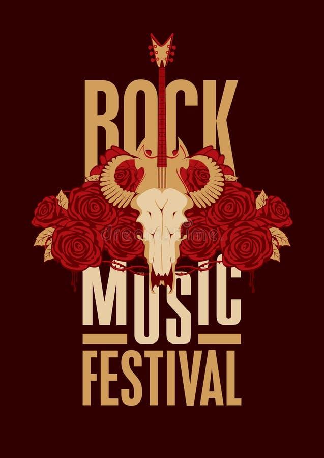 Plakat dla festiwal muzyki rockowej ilustracja wektor
