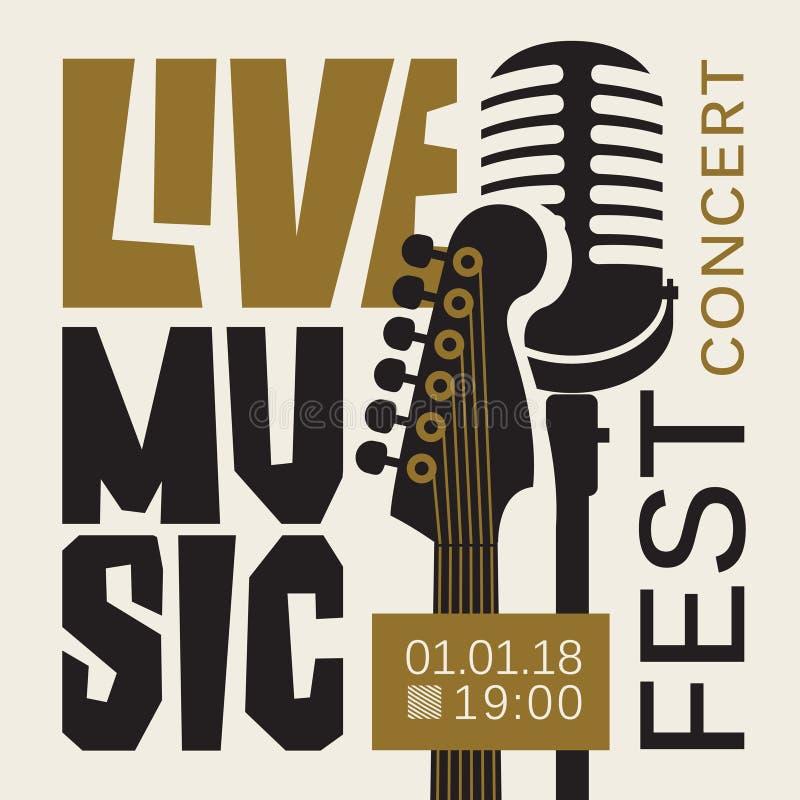Plakat dla muzyka na żywo festiwalu z gitarą i mic ilustracja wektor