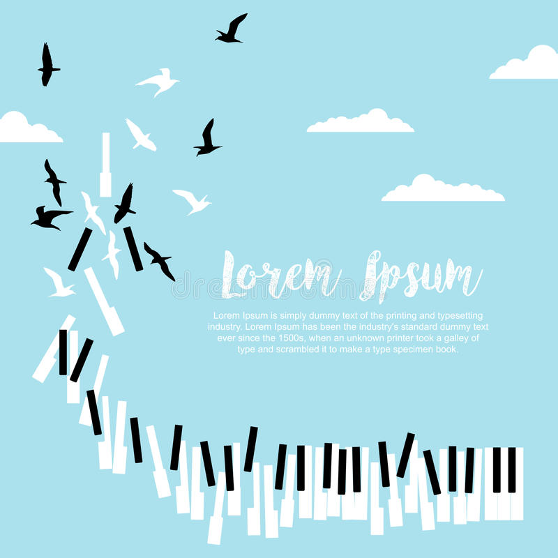 Plakat dla, przestrzeń dla teksta koncerta z pianino kluczami i latającymi ptakami w niebieskim niebie z chmurami i ilustracja wektor