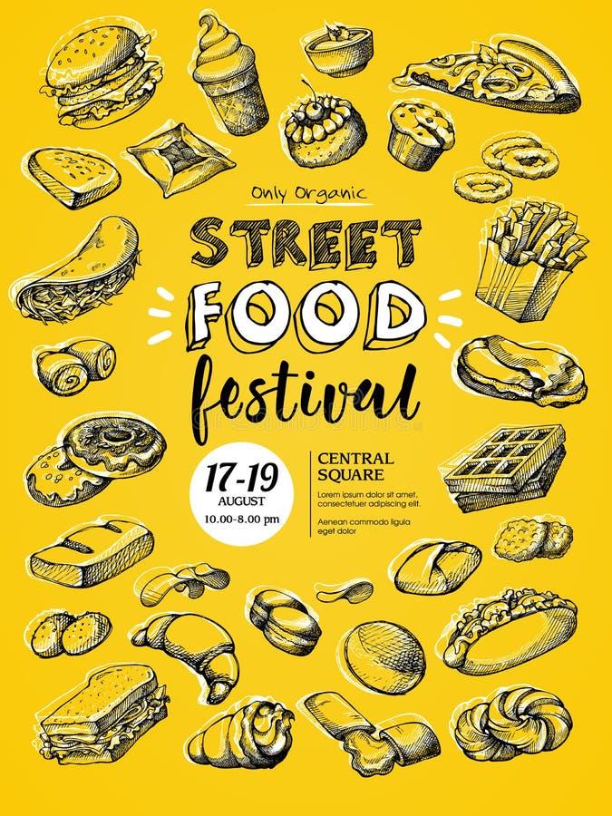 Plakat dla ulicznego karmowego festiwalu royalty ilustracja