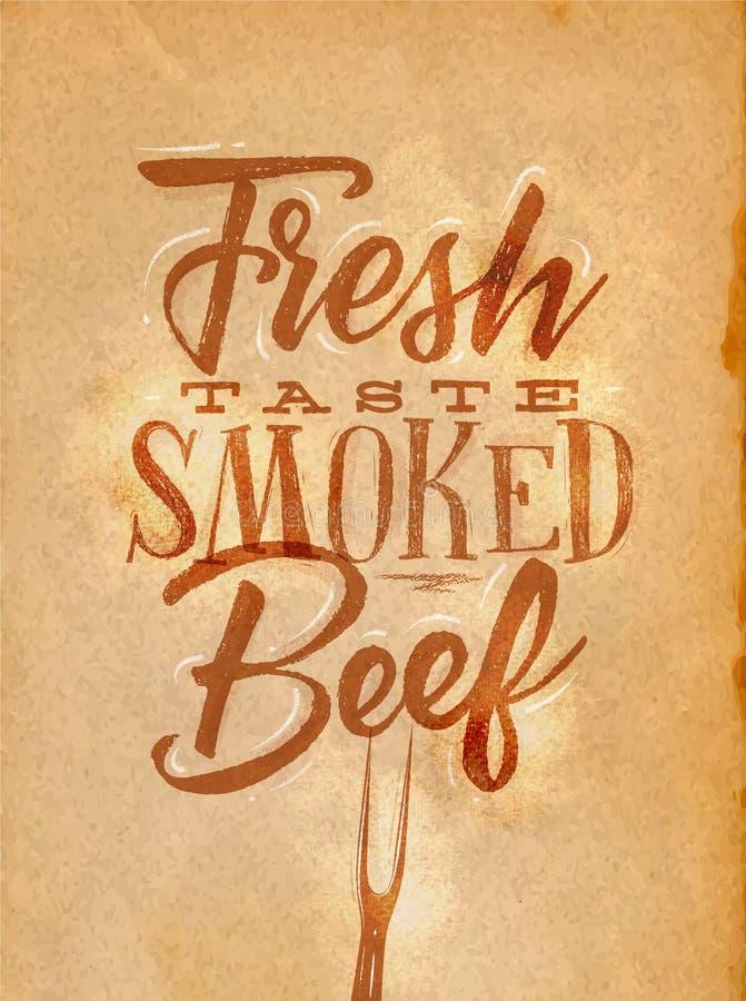 Plakat dymiący wołowiny rzemiosło ilustracja wektor