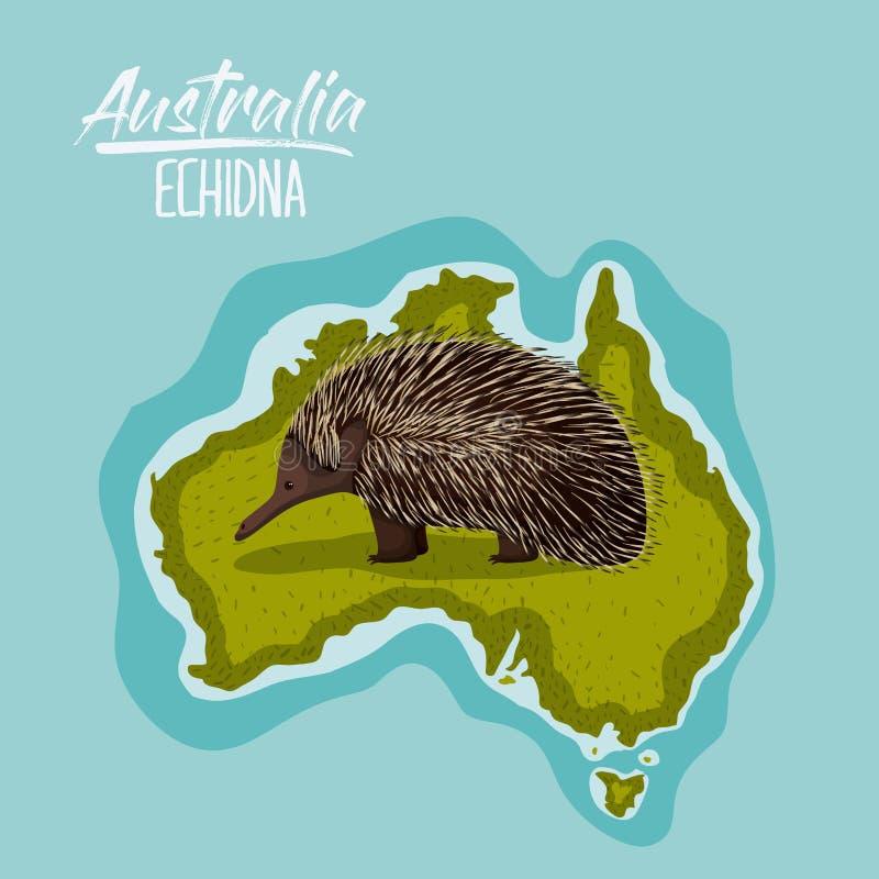 Plakat Echidna in Australien-Karte im Grün umgeben durch den Ozean stock abbildung