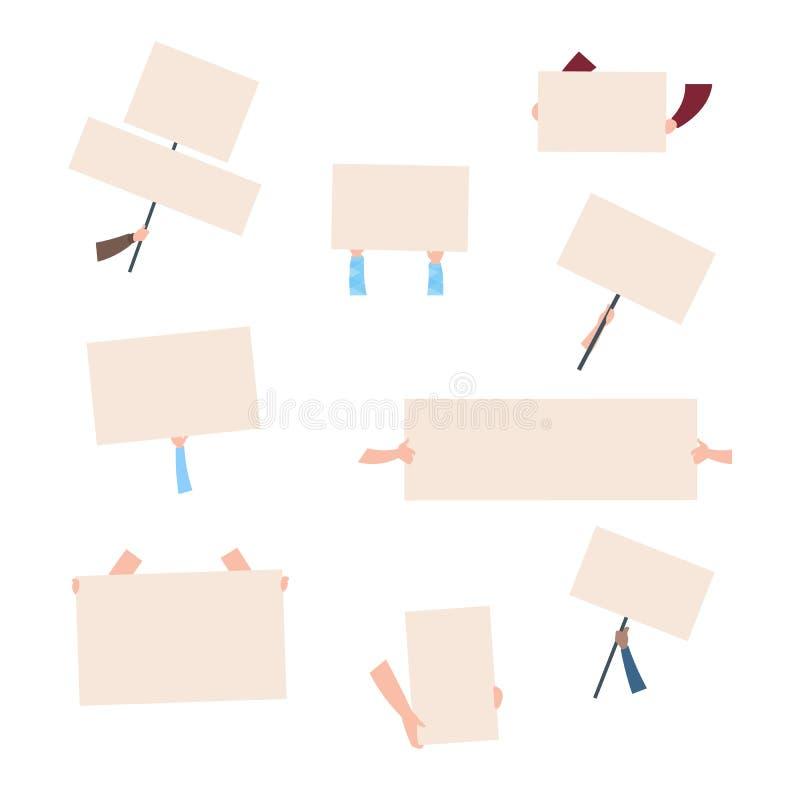 Plakat för 040619 protest Händer som rymmer tomma baner Demonstrationsaktivistanförande stock illustrationer
