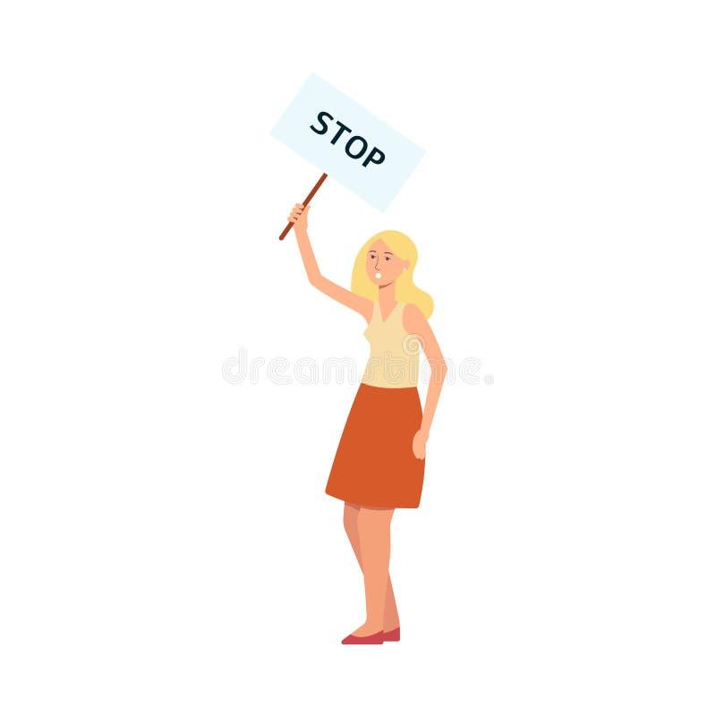 Plakat för protest för kvinnaställningsinnehav med stil för stoppinskrifttecknad film stock illustrationer