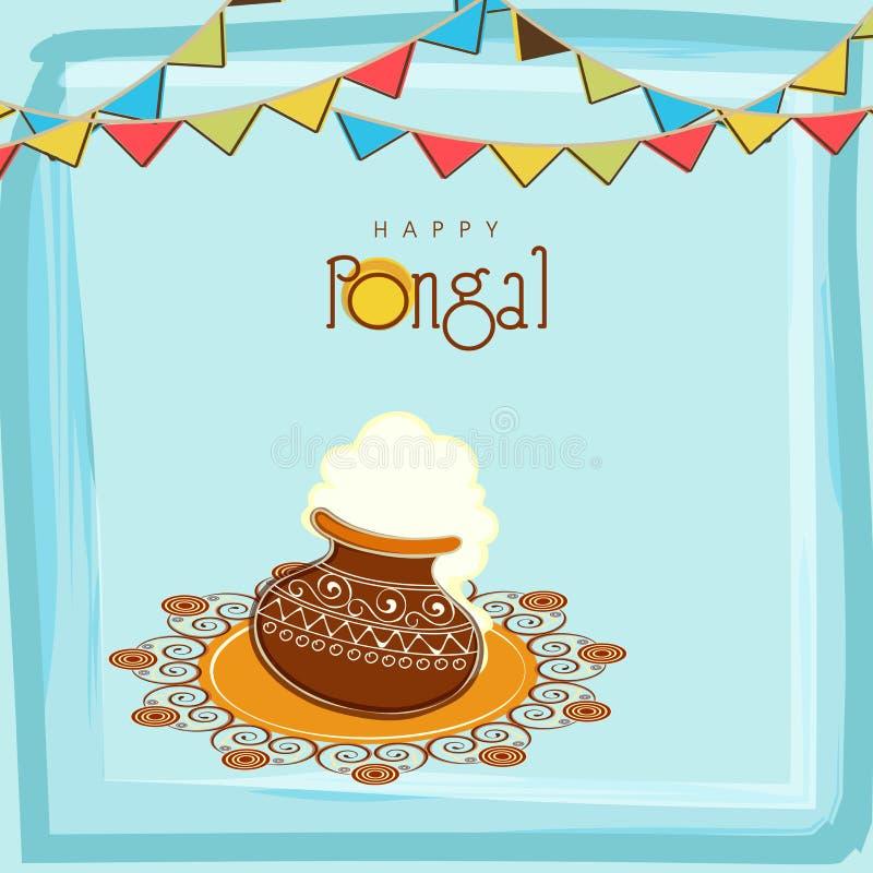 Plakat für das Feiern glücklichen Pongal-Festivals stock abbildung