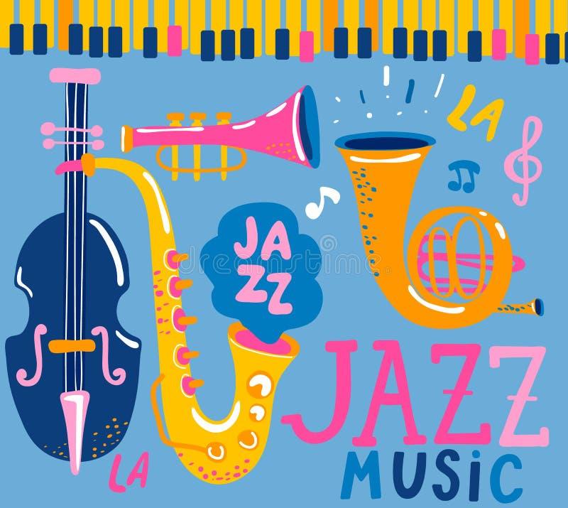 Plakat für die Jazzmusik stock abbildung