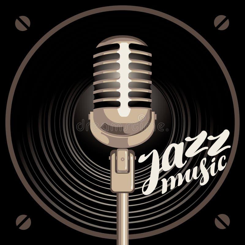 Plakat für Jazzmusik mit Sprecher und Mikrofon lizenzfreie abbildung