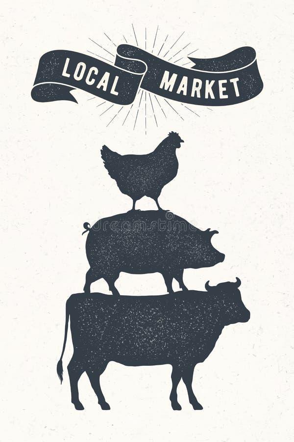 Plakat für lokalen Markt Kuh, Schwein, Hennenstand auf einander stock abbildung