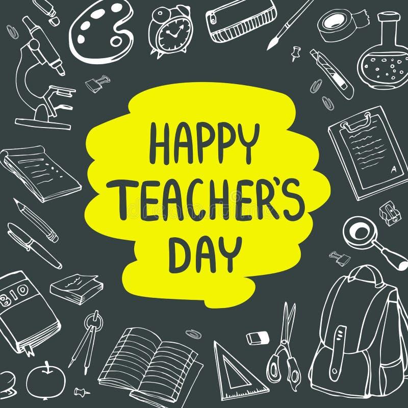 Plakat für nationalen Lehrer ` s Tag glückliches neues Jahr 2007 Vektorillustration auf Tafel stockfotos