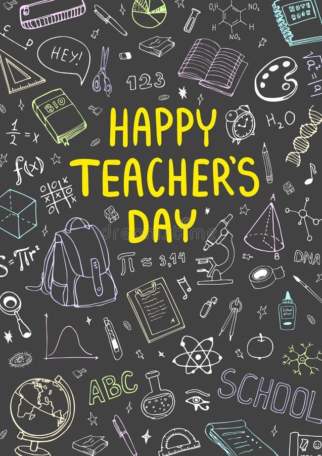 Plakat für nationalen Lehrer ` s Tag mit nettem doddle Design Vertikale Vektorillustration auf einer Tafel lizenzfreie stockbilder