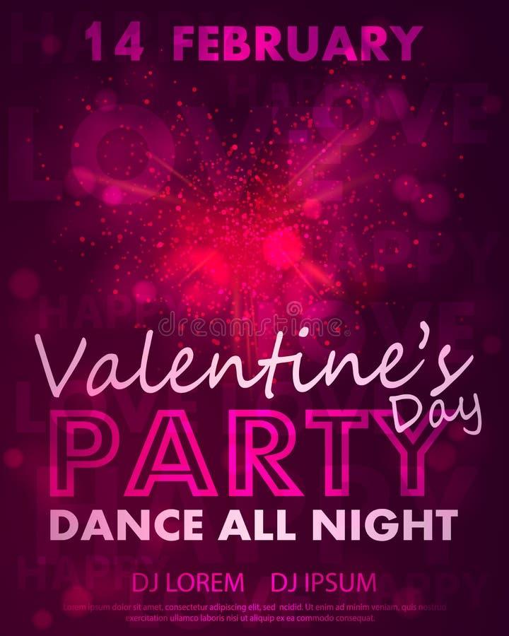 Plakat für Valentinsgruß-Tagespartei, Tanzschablone mit rosa Herzen von der Explosion, Lichter und beschriften Liebe, glücklich f lizenzfreie abbildung