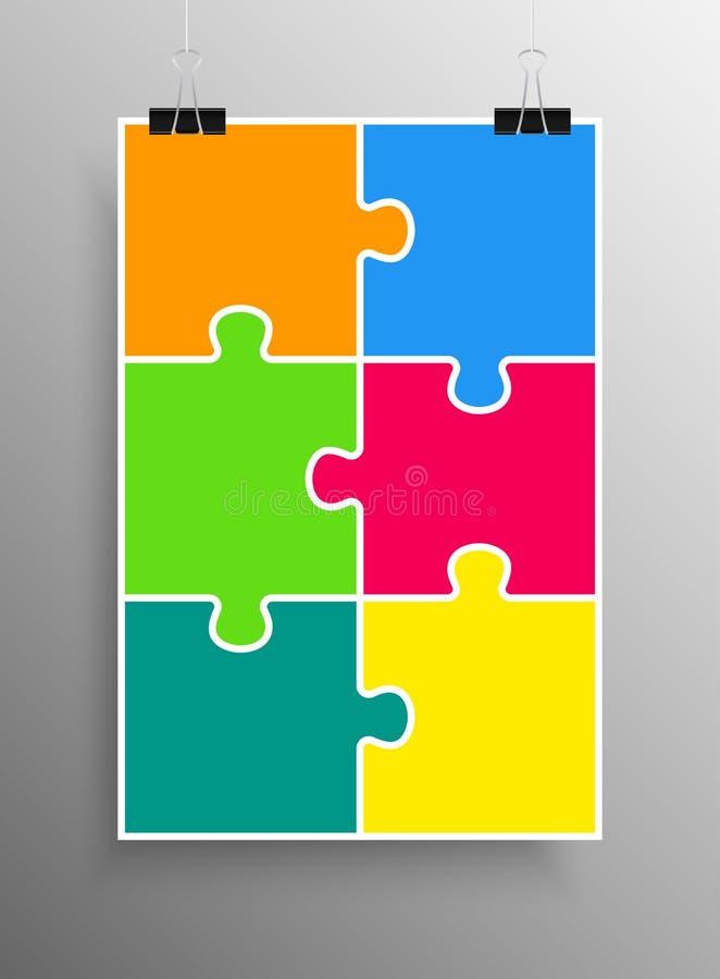 Plakat-Fahne sechs Stücke des Puzzlespiel-Infographic stock abbildung