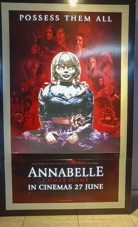 Plakat filmowy Annabelle, Annabelle jest amerykańskim nadprzyrodzonym horrorem z 2014 roku obrazy stock