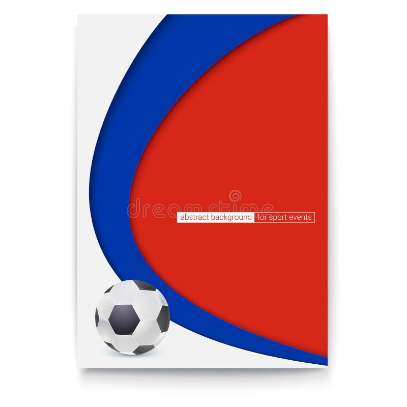Plakat futbol lub piłka nożna 2018 światowych mistrzostw filiżanek Sztandar z piłki i Rosja kolorów tłem Wektor 3D royalty ilustracja