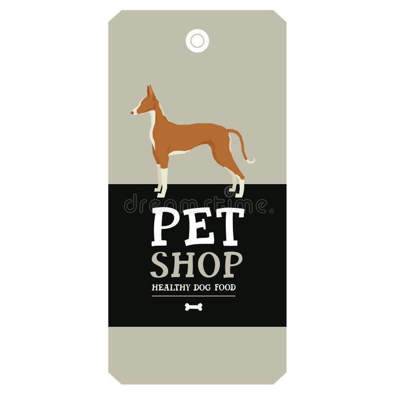 Plakat-Geschäft- für Haustieredesignaufkleber Ibizan-Jagdhund-geometrischer Stil lizenzfreie abbildung