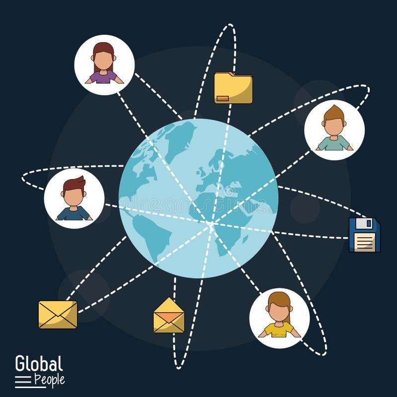 Plakat globalni ludzie z zmrokiem - błękitny tło z światową kulą ziemską i globalnymi łącze komunikacyjny royalty ilustracja