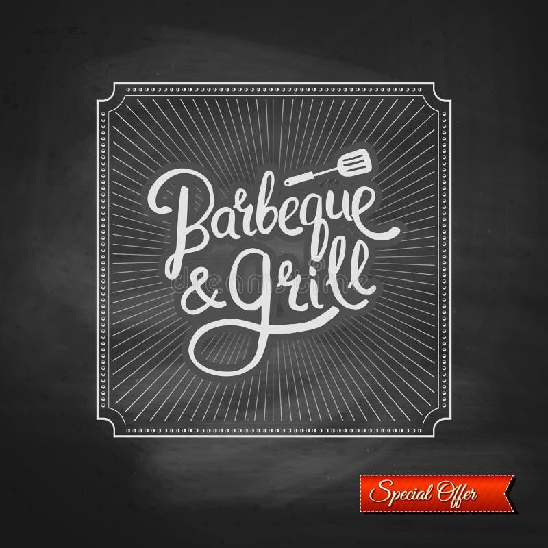 Plakat grill i grill na Czarnym Chalkboard royalty ilustracja
