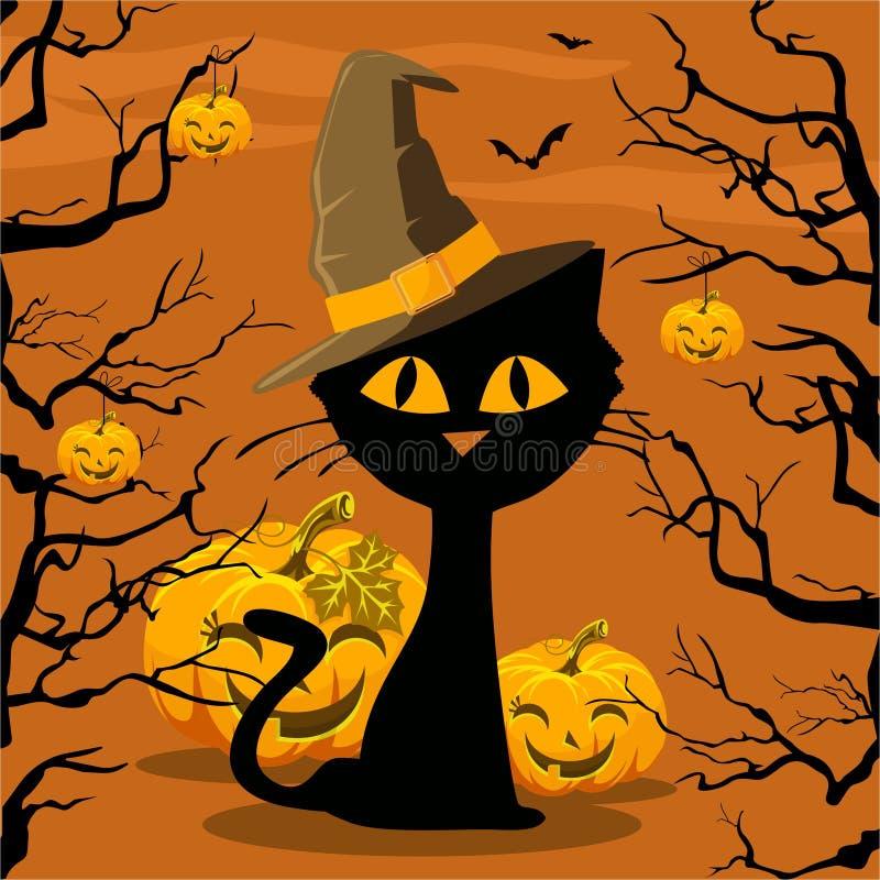 plakat Halloween Katze und Kürbis vektor abbildung