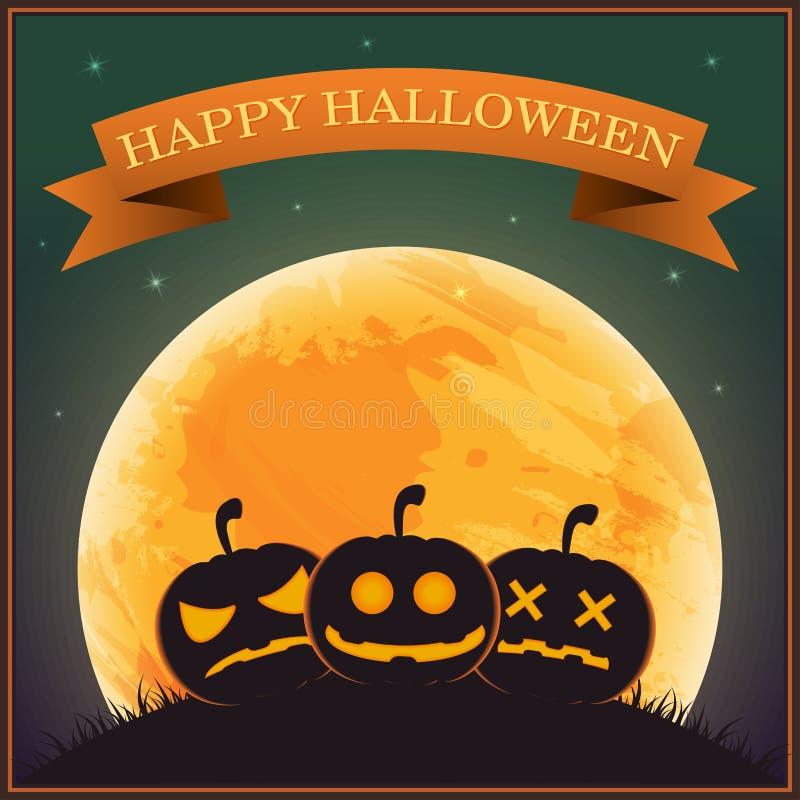 Plakat-Halloween-Tag, Schattenbildkürbislaterne auf Gras darunter lizenzfreie abbildung