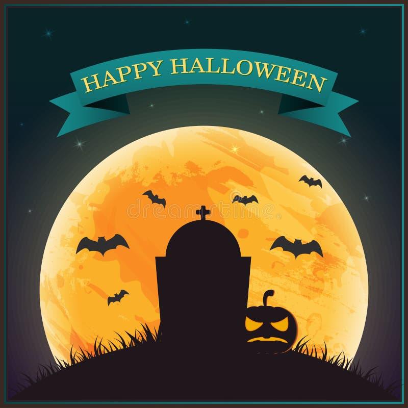 Plakat-Halloween-Tag, Schattenbildkürbislaterne auf Gras mit vektor abbildung