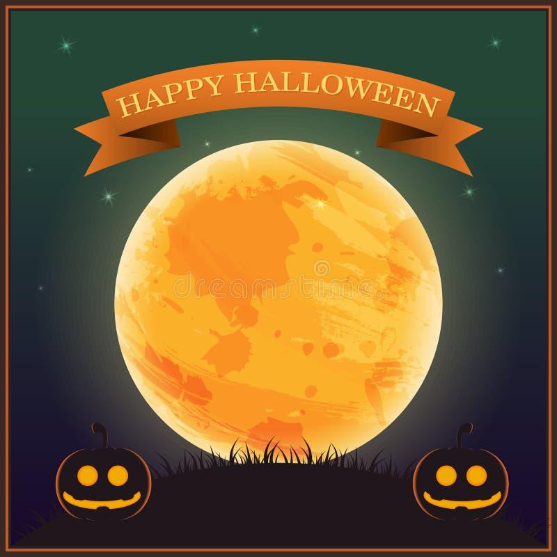 Plakat-Halloween-Tag, Schattenbildkürbislaterne auf Gras unter Mond und Stern auf nächtlichem Himmel, Vektorillustration, Fahnent lizenzfreie abbildung