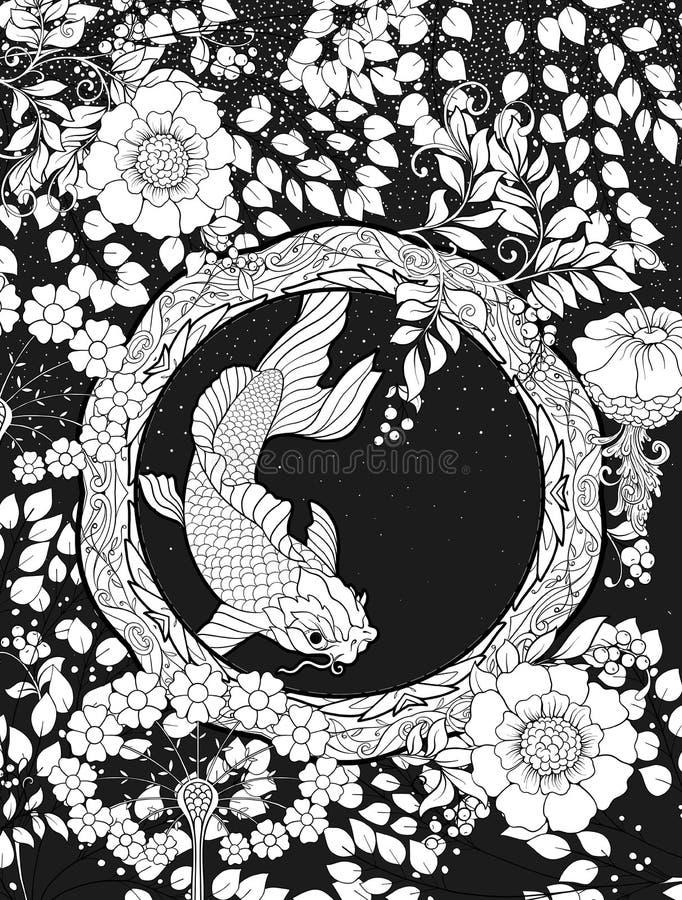 Plakat, Hintergrund mit dekorativen Blumen und Karpfen fischen in der Jugendstilart vektor abbildung