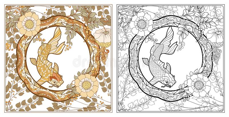 Plakat, Hintergrund mit dekorativen Blumen und Karpfen fischen in der Jugendstilart, die Weinlese, alt, Retrostil umreiß lizenzfreie abbildung