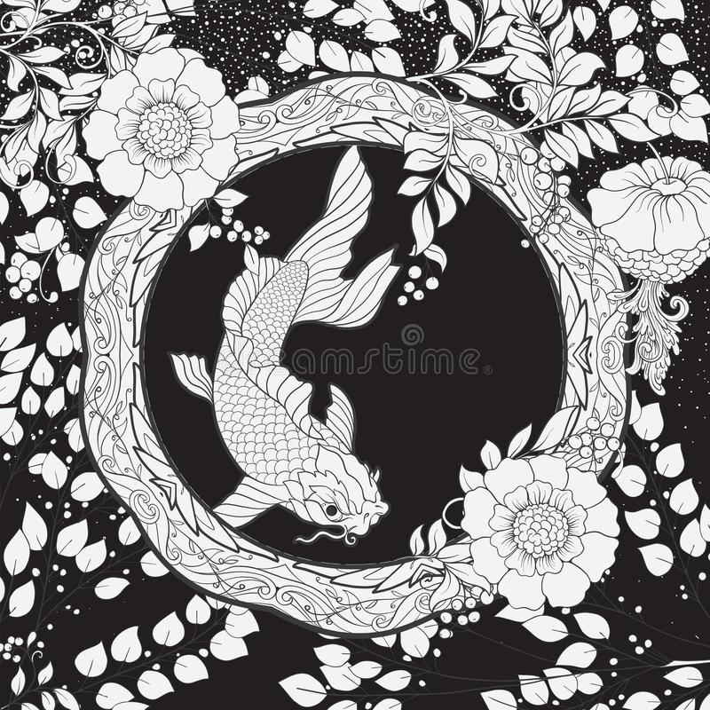 Plakat, Hintergrund mit dekorativen Blumen und Karpfen fischen in der Jugendstilart n stock abbildung