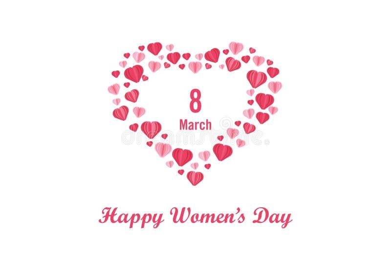 Plakat, -hintergrund und -tapete der internationalen Frauen Tages Beschriften des Tages der glücklichen Frauen mit rotem Herzen,  lizenzfreie abbildung