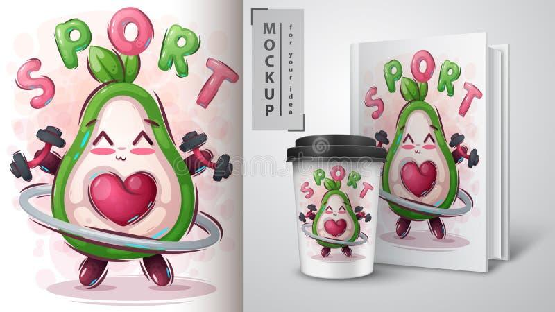 Plakat i promocja fitness awocado ilustracji