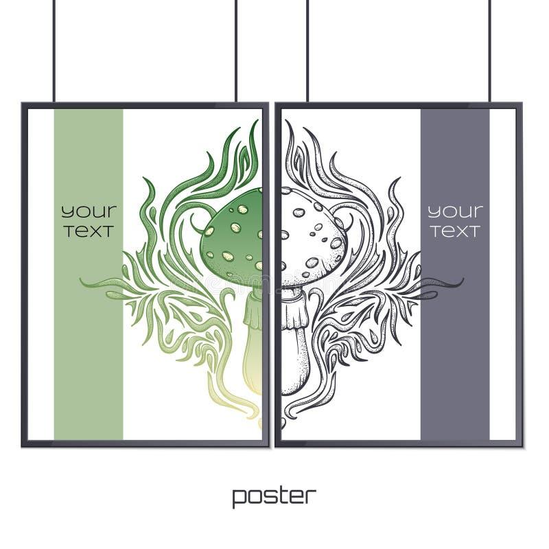 Plakat im Rahmen-Zusammenfassungs-Pilz vektor abbildung