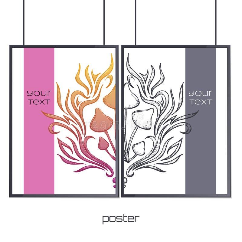 Plakat im Rahmen-Zusammenfassungs-Pilz vier lizenzfreie abbildung