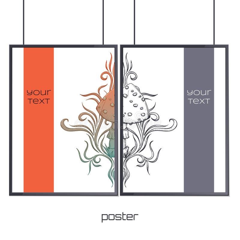 Plakat im Rahmen-Zusammenfassungs-Pilz zwei vektor abbildung