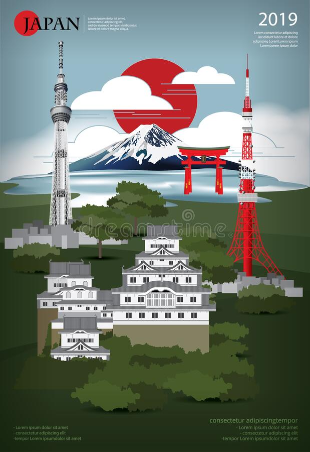 Plakat Japan Landmark and Travel Attrakations ilustracja wektor