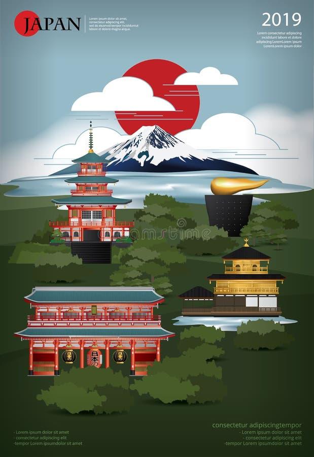 Plakat Japan Landmark and Travel Attrakations ilustracji