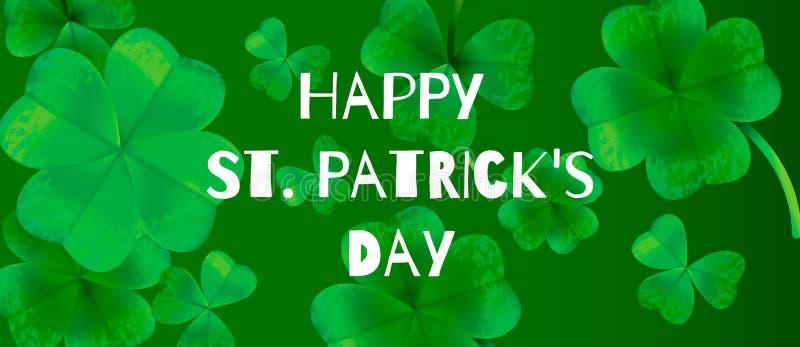 Plakat, karta, sztandaru szablonu świętego Patricks dnia powitania Szczęśliwy literowanie na koniczyna liścia tle również zwrócić ilustracji