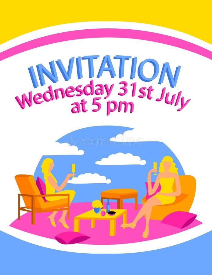 Plakat karty miejsca kobiety feminizm pije przyjęcie projekta płaskiego kolorowego krzesła wina nieba poduszki sukni siedzącego a ilustracja wektor