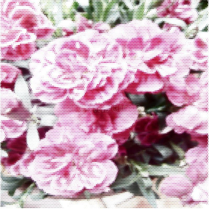 Plakat kwiaty Halftone barwiona tekstura zdjęcie stock