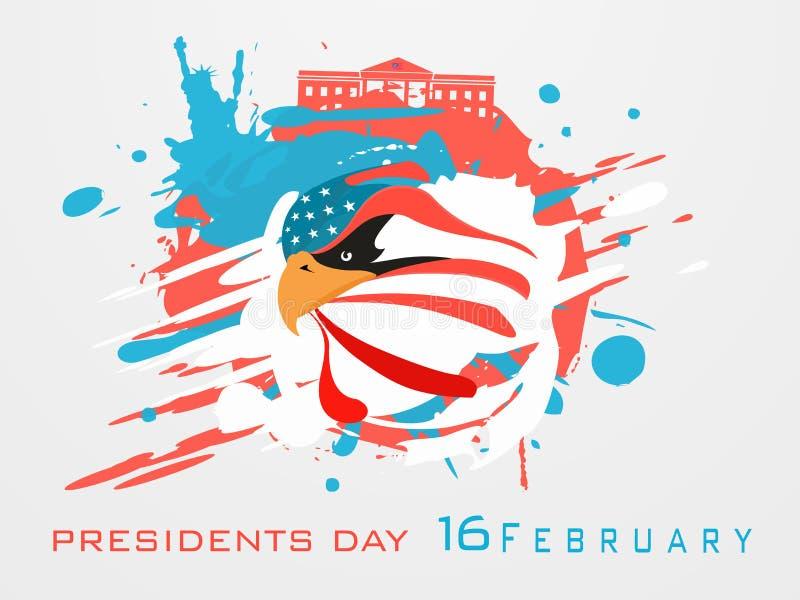 Plakat lub sztandaru projekt dla Amerykańskiego prezydentów dni świętowania royalty ilustracja