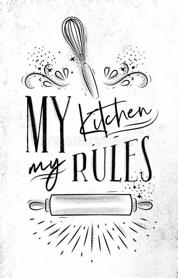 Plakat mój kuchni reguły ilustracja wektor