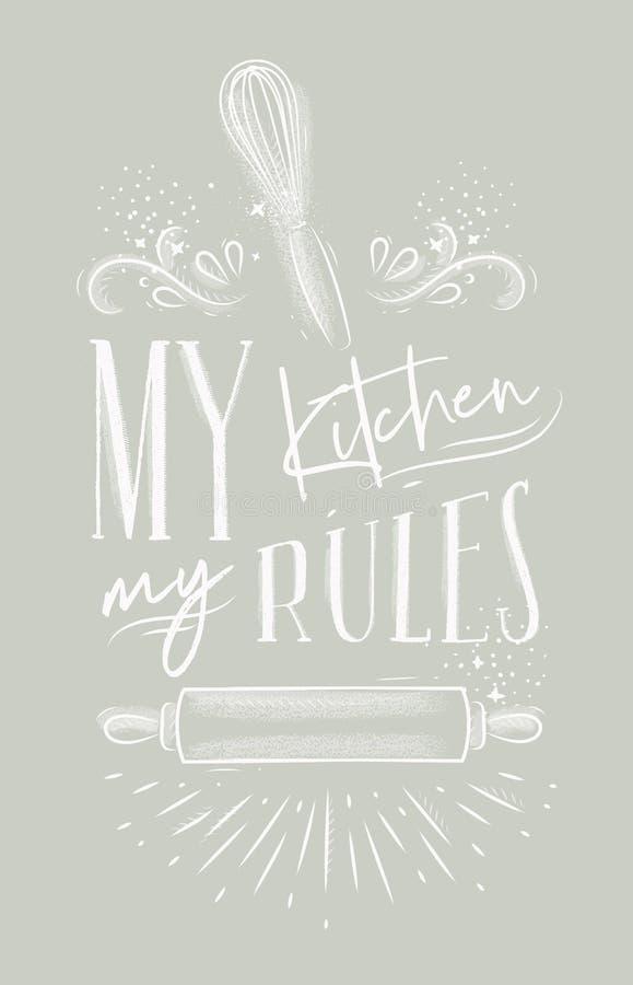 Plakat mój kuchnia rządzi szarość ilustracji