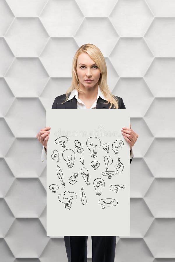 Plakat med teckningslampor fotografering för bildbyråer