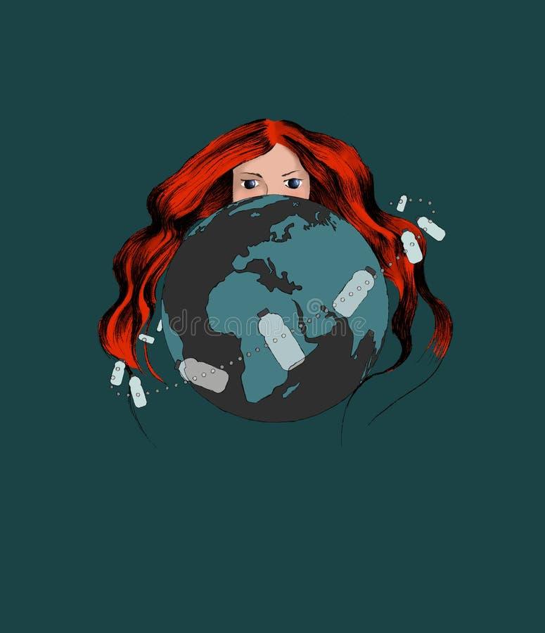 Plakat mit ökologischem Thema: Plastikverschmutzung Rothaarige-Frau, welche die Mutter Erde sich versteckt hinter dem Planeten da vektor abbildung
