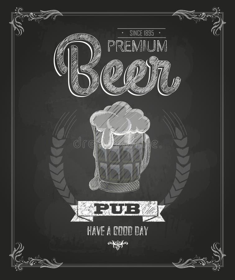 Plakat mit Bier Kreidezeichnung lizenzfreie abbildung